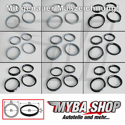 4x CENTERING RING SELECTABLE SIZE FOR DIFFERENT RIMS - CAR MANUFACTURER #NEU#