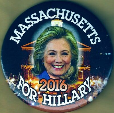Massachusetts For Hillary (Clinton) 2016  3 Inch Presidential Campaign Button