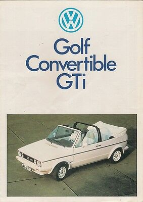 Volkswagen Golf GTi Convertible All White Limited Edition 1984 UK Sales Brochure