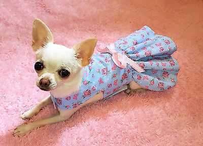 Handmade Dog Dress For Small Dogs Clothing - Pink Blue - Puppy Chihuahua