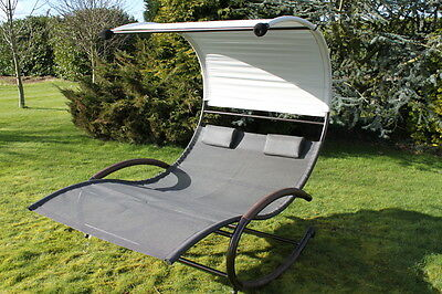 Textoline & Steel 2 Person Bed Style Rocking Garden Swing Seat-CLEARANCE STOCK