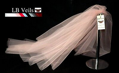 Wedding Veil Blush Pink 2 Tier Crystal Diamante All Over Any Length LBV151 UK