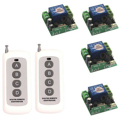 12V 1CH Wireless Remote Control teleswitch 2 transmitter and 4 receiver System