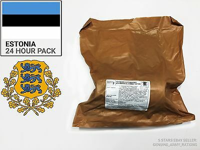 Estonia Army Ration Pack. Military meals ready to eat (MRE) 24 hours