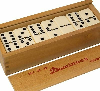 Family Fun Traditional Board Tile Game Double Six Club Dominoes Set Of 28