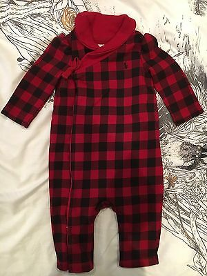 Ralph Lauren Black And Red Check Romper New Without Tags 6 Months
