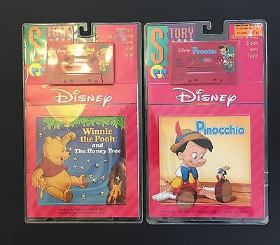 VTG Disney Read-along Book And Tape LOT Winnie the Pooh and Pinocchio New Sealed