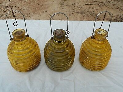 Lot of 3 Vintage Glass Hanging Wasp Catcher Bee Yellow Jacket Insect Fly Trap