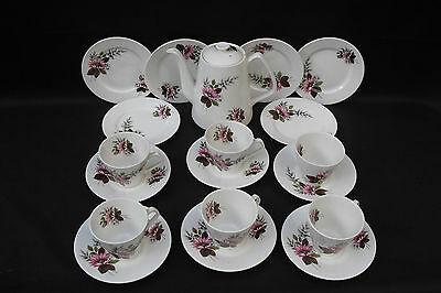 Vintage Lord Nelson Pottery tea set from 1950s pink floral spray design 19 piece