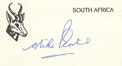 South Africa Test Cricket - Mike Procter - Hand Signed Card.