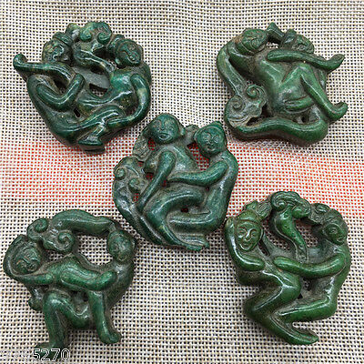 5PC Old Chinese Hand carving natural jade Sexual posture amulet necklace Pendant
