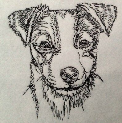 Completed Embroidery Jack Russell Terrier Puppy