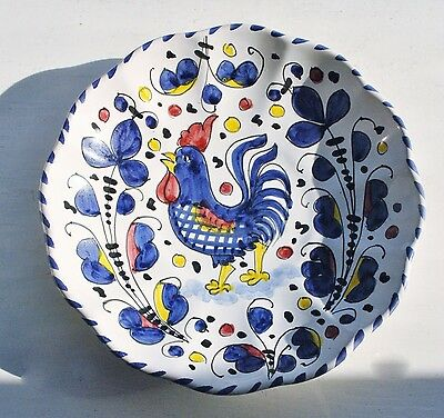 """Vintage Deruta Italy Rooster Dish/ Bowl 8"""" Blue Rare"""