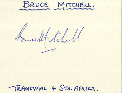 South Africa Test Cricket - Bruce Mitchell - Hand Signed Card.