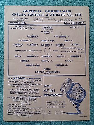 1945 - WAR CUP FINAL PROGRAMME (NORTH v SOUTH) - BOLTON v CHELSEA
