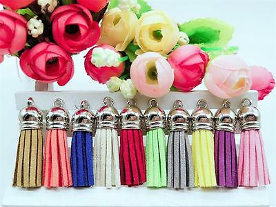10pcs polyester cashmere leather tassel pendant jewelry bag chain mixed batch