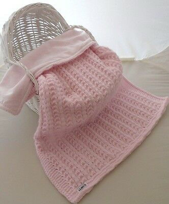 Baby Girls Blanket Hand Knitted Baby Pink Moses Pram Cot Baby Shower Gift