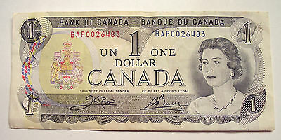 1973x1 QEII $1.00 Bank of Canada Note in very good circulated condition
