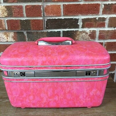 Vintage Samsonite Silhouette Train Case with Tray Marbled Luggage Carry On Tote