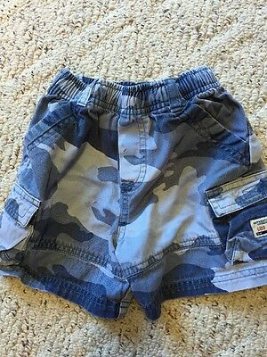The Children's Place Boys Blue Camouflage Elastic Waist Cargo Shorts Size: 4Tguc