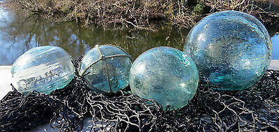 Japanese Fishing Floats Blown Glass Lot-4 Misshapen Odd Mixed Sizes NET Textured
