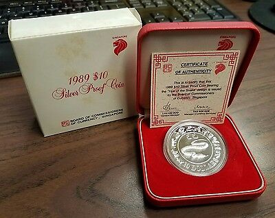 1989 Singapore Silver Proof $10 Lunar Snake Coin