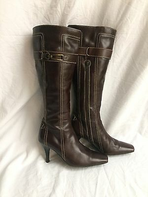 Cara London Dark Brown Knee High Leather Boots UK 3