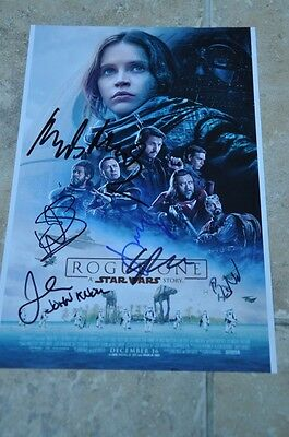 "Star Wars Rogue One Multi Signed By 6 12"" x 8"" Colour Photo Mads ,Donnie, Riz +3"