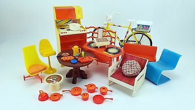 Vintage Barbie Mod Furniture Lot Table Chairs Stove Bicycle Cookware Accessories