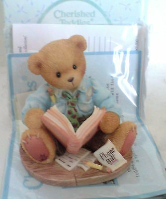 """Cherished Teddies Dad with Bills  """"You're Due For A Hug"""""""