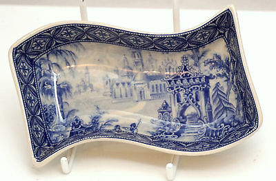 C19th ROYAL ARMS MARK STAFFORDSHIRE POTTERY BLUE WHITE PART HORS-DOUVRES DISH #2