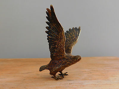 Vintage Brass miniature Golden Eagle Bird of Prey Ornament Statue Taking Flight
