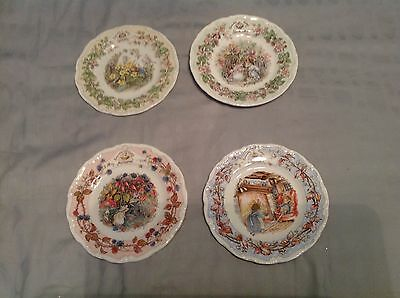 Royal Doulton Bramley Hedge Tea Plates Set Of 4 Sring Summer Autumn & Winter