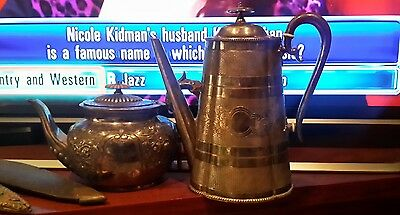 vintage tea and coffee / hot chocolate pots, silver plate