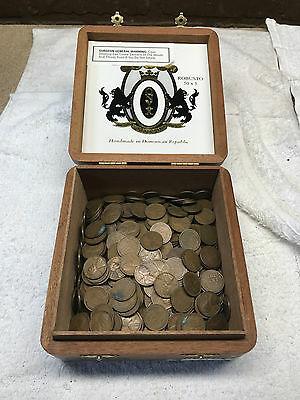 500+ Wheat Penny 1909-1958 Unsorted Dates In Old Onyx Reserve Wood Cigar Box