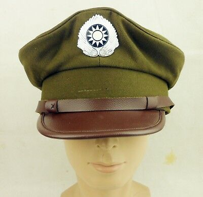 Wwii Chinese Kmt Officer Hat Cap Wwii Military Peaked Cap Size L-218