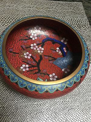 Chinese Enamel Cloisonne Cherry Blossoms  Bowl With Carved Stand
