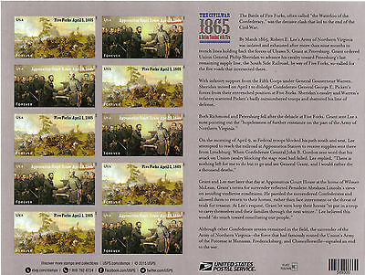 "2015 US Stati Uniti/USA ""the CIVIL WAR: 1865"" minifoglio/minisheet/pane MNH**"