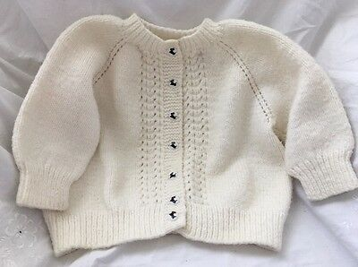 Vintage Hand Knit Toddler Baby Child Sweater Cardigan SCOTTIE DOG BUTTONS