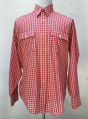 Vintage Levi Strauss & Co Red/White Gingham Long Sleeve Shirt Sz L 60665-7586