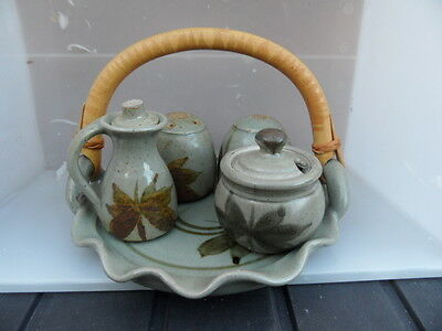 LLANARTH   Welsh Studio Pottery Condiment Tray Set  VINTAGE  EXCELLENT CONDITION