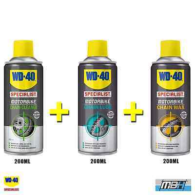 WD40 WDSP Specialist Motorcycle Chain Lube, Chain Wax & Cleaner 200ml Care Kit