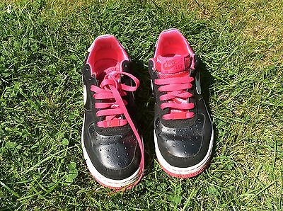 Ladies NIKE Air Air Force 1  Trainers in Black & Pink - UK Size 5