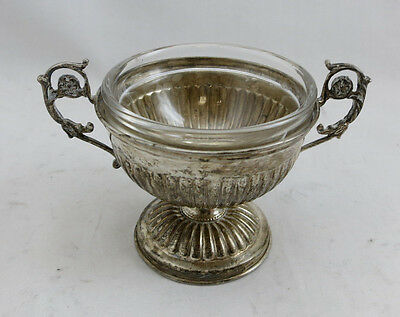 Silver 800 Candy Nut Dish With Glass 124 grams