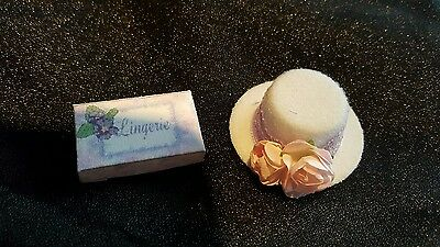 1/12th scale dolls house miniature hat and tissue box