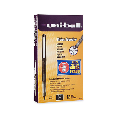 uni-ball VISION NEEDLE Rollerball, Stick Roller Ball Pen Micro-0.5mm, 12 Pack, B
