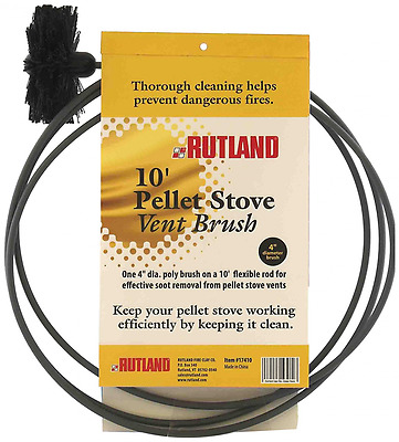 Rutland 4-Inch Pellet Stove/Dryer Vent Brush with 10-Feet Handle