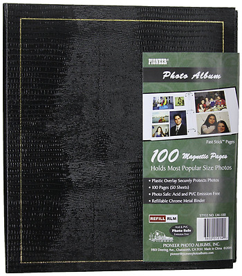Pioneer Magnetic Page Photo Album, 10-Inch-by-11-1/2-Inch, 100 Pages, Colors May