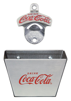 TableCraft Coca Cola Wall Mount Bottle Opener with Cap Catcher