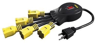 STANLEY 31500 Power Squid with 5-Grounded Outlets, Black/Yellow